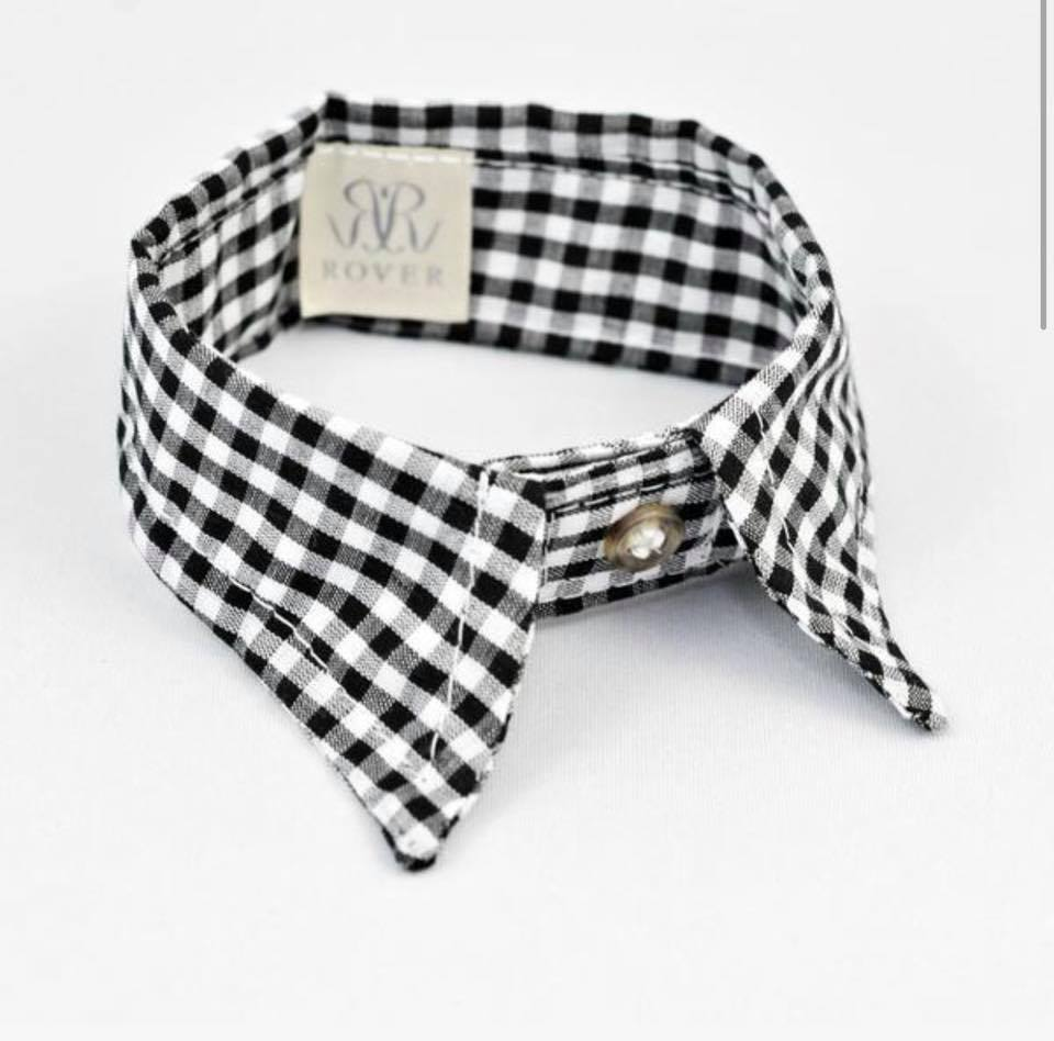 4341a80cb234 Black and white tartan pointed dog collar. Dog bow tie with collar
